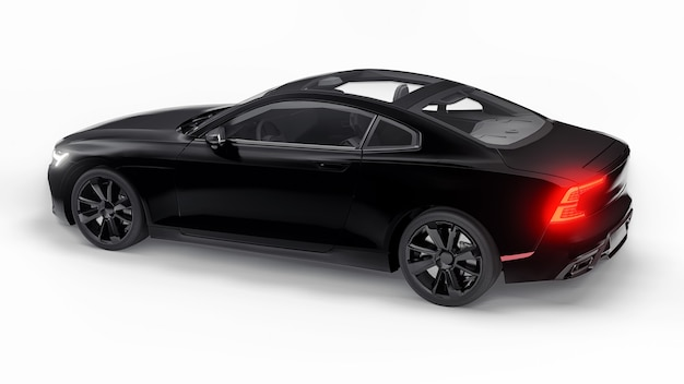 컨셉카 스포츠 프리미엄 쿠페. 플러그인 하이브리드. 친환경 운송 기술. 흰색 바탕에 검은 차. 3d 렌더링.