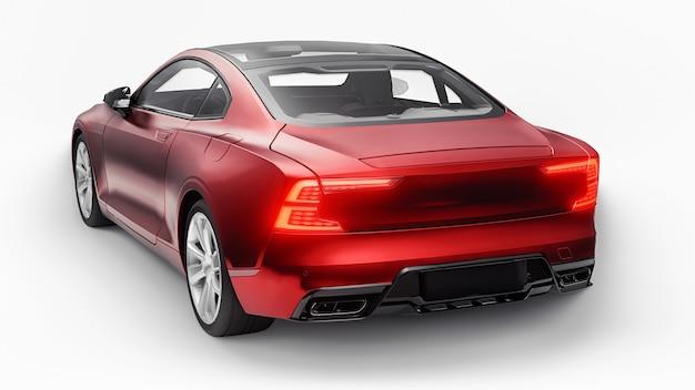 컨셉카 스포츠 프리미엄 쿠페. 플러그인 하이브리드. 친환경 운송 기술. 흰색 바탕에 빨간 차입니다. 3d 렌더링.
