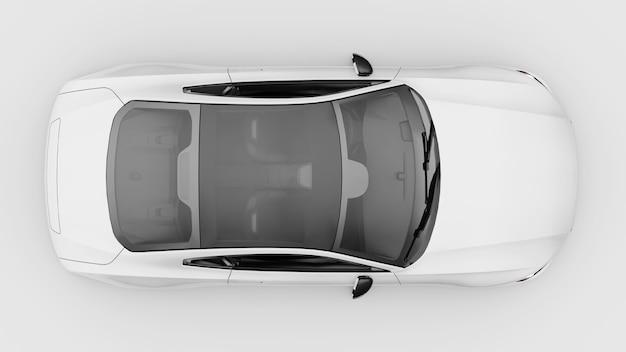 Концепт-кар спортивный премиум-купе плагин гибридный белый автомобиль на белом фоне 3d-рендеринга