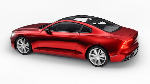 Concept car sports premium coupe red car on white background