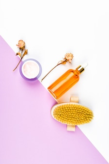 Concept caring for skin and body. zero waste concept. . massage brush. accessories for massage. flatley eco care concept. skin care products. craft paper. flat lay