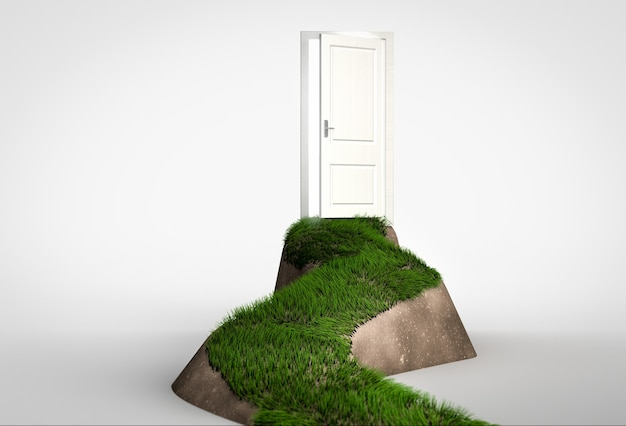 Concept of challenge and opportunity. grass footpath leading to open door on hill. 3d render