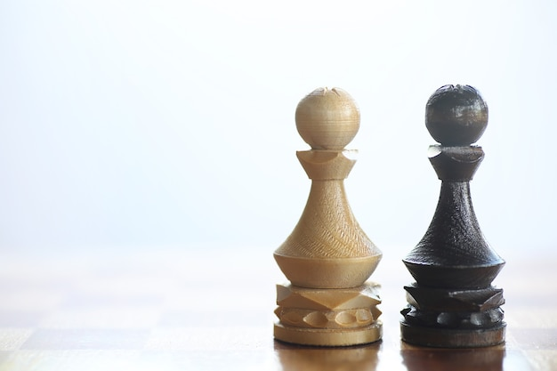 The concept of the chess game at the thoughts of the battlefield