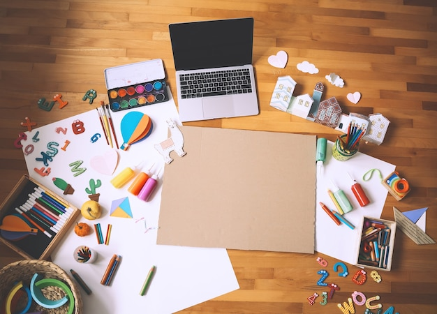 Concept of children distance online learning or making crafts