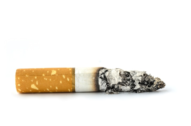 Concept cigarette stop smoke on white background isolated
