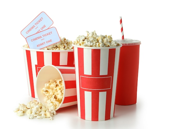 Concept of cinema food isolated on white background.