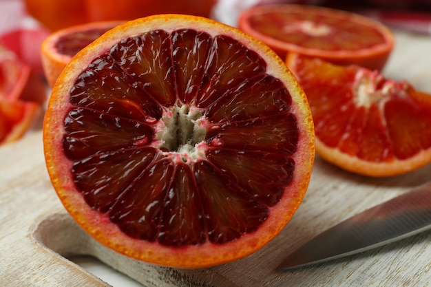 Concept of citrus with red oranges, close up
