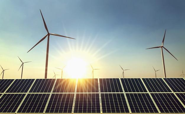 자연의 개념 청정 에너지 전력. 태양 배경으로 태양 전지 패널과 풍력 터빈