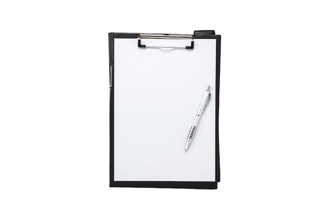 トップビューアクセサリーオフィスデスクconcept.clipboard、コーヒー、notepaper、白いオフィスのデスクにペン。