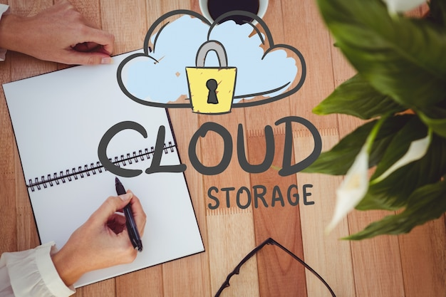 Il concetto di cloud storage con un disegno