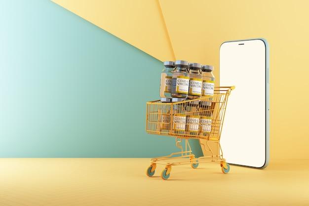 オンラインショッピングスマートフォンの3dレンダリングのカートによるcovid-19コロナウイルスワクチンの世界的な配信のためのコンセプトカラフルな黄色と緑のトーン