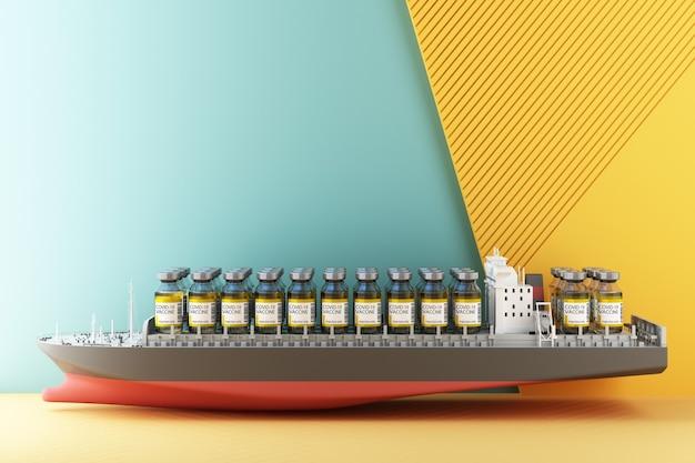 船の3dレンダリングによるcovid-19コロナウイルスワクチンの世界的な配信のためのコンセプトカラフルな黄色と緑のトーン