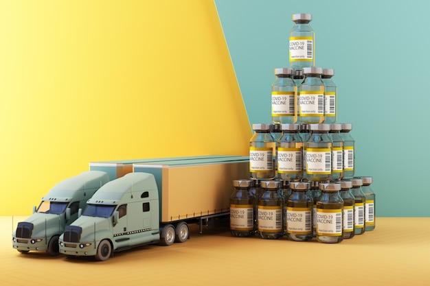 トラックの3dレンダリングによるcovid-19コロナウイルスワクチンの世界的な配信のためのコンセプトカラフルな黄色と緑のトーン