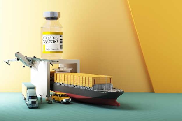 トラックスクーター機とバンの3dレンダリングによるcovid-19コロナウイルスワクチンの世界的な配信のためのコンセプトカラフルな黄色と緑のトーン