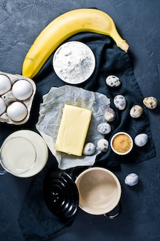 The concept of cooking banana muffins.