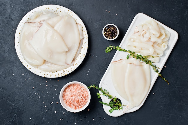 The concept of cooking raw squid