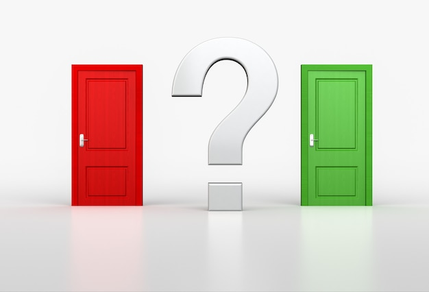 Concept of correct and wrong choice. big question mark between red and green door on white. 3d render