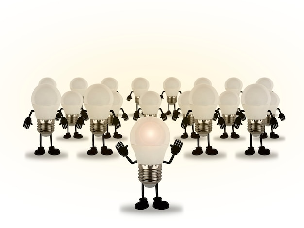 Concept of creative inspiration, set of bulbs commanded by a light bulb