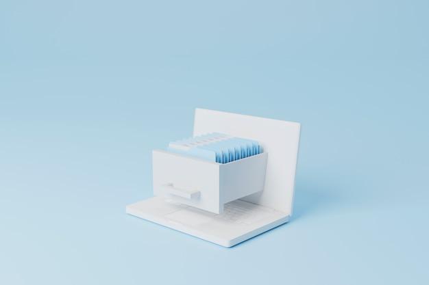 Concept of data digital storage on cloud computer laptop with file folder 3d render