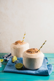 Concept of delicious coconut smoothie