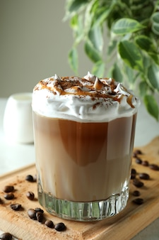 Concept of delicious drink with ice coffee, close up