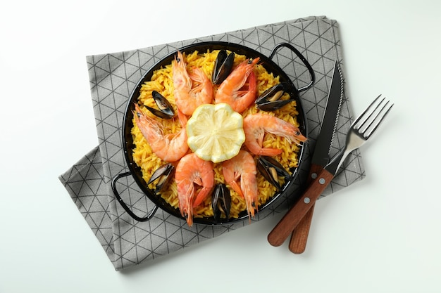 Concept of delicious food with spanish paella