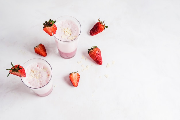 Concept of delicious strawberry smoothie