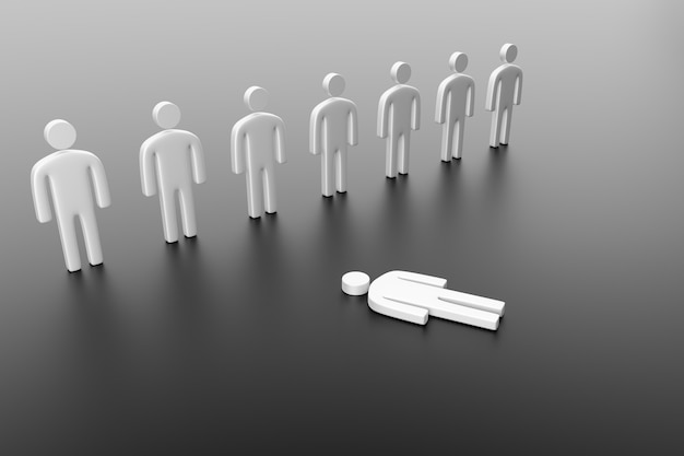 Concept of depression, abuse, discrimination, loneliness and rejection. 3d render