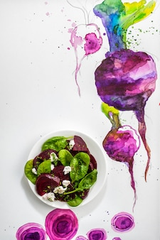 Concept design, beet salad with spinach