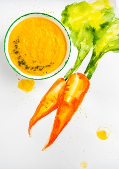 Concept design, carrot soup with cream