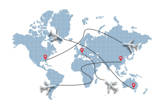 Concept of different paths of aircraft flight on the world map.