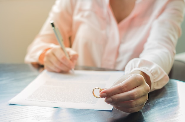 Concept of divorce, end of relationship with woman holding wedding ring