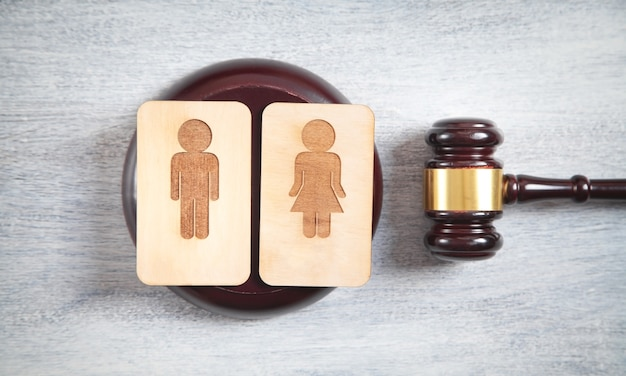 Concept of divorce. male and female wooden symbols and judge gavel