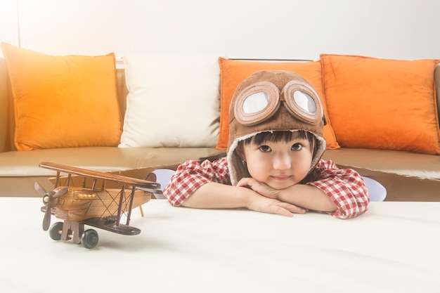 The concept of dreams and travel.the child plays the role of a pilot and dreams of flying into space.