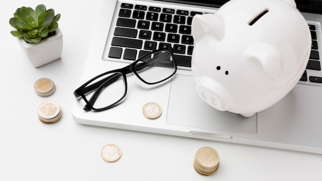Concept of economy with piggy bank on laptop