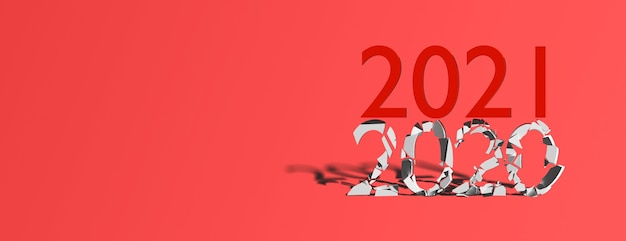 青い背景、バナー、コピースペースで2021年から始まる2020年のコンセプトの終わり