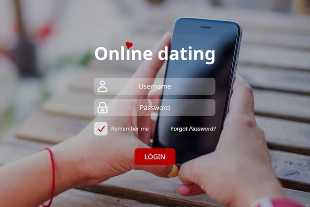 The concept of entering an online dating account with a username and password.