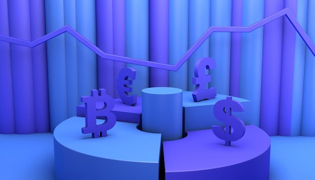Concept of financial investment in the stock market. 3d illustration