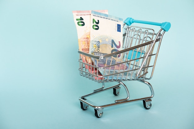 The concept of financial planning, many in the shopping cart isolate on blue