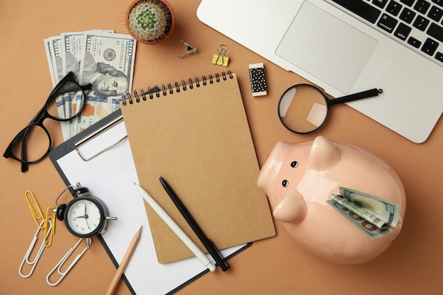 Concept of financial planning with piggy bank