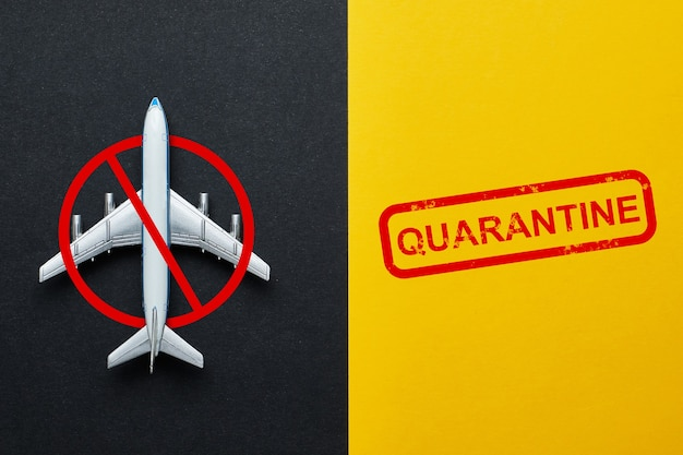 Concept of a flight ban due to quarantine and virus