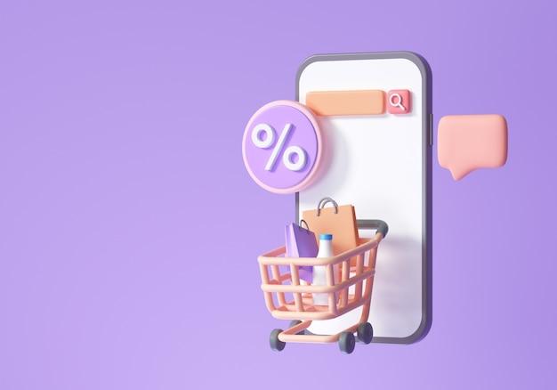 オンラインショッピングアプリケーション、eコマース、スマートフォンショッピング、およびプロモーションアイコンの概念。 3dレンダリングイラスト
