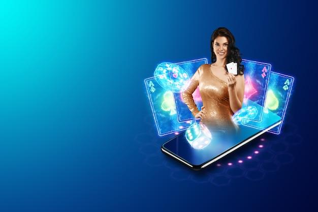 온라인 카지노, 도박, 온라인 머니 게임, 베팅에 대한 개념. 스마트 폰 및 카드 놀이와 예쁜 여자 손에. 웹 사이트 헤더, 전단지, 포스터, 광고 템플릿.