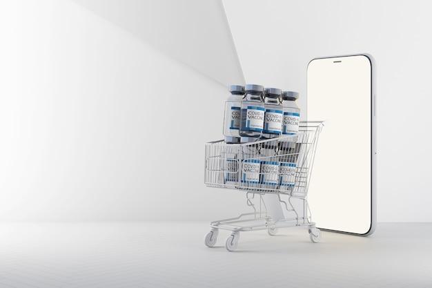 オンラインショッピングスマートフォンの3dレンダリングのカートによるcovid-19コロナウイルスワクチンの世界的な配信のコンセプト