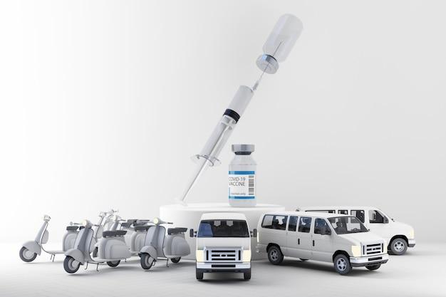 スクーターとバンの3dレンダリングによるcovid-19コロナウイルスワクチンの世界的な配信のコンセプト