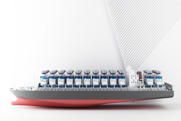 船の3dレンダリングによるcovid-19コロナウイルスワクチンの世界的な配信のコンセプト