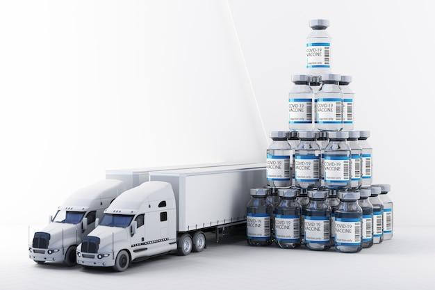 トラックの3dレンダリングによるcovid-19コロナウイルスワクチンの世界的な配信のコンセプト