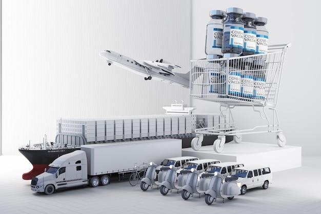 トラックスクーター機とバン3dレンダリングによるcovid-19コロナウイルスワクチンの世界的な配信のコンセプト