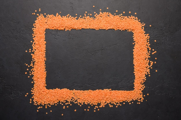Concept of frame of lentils healthy and dietary food top view