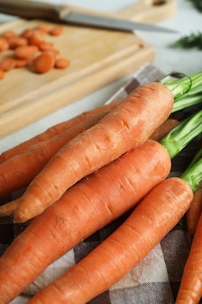 Concept of fresh vegetable with carrot, close up